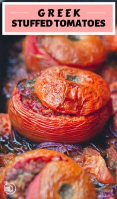 Greek stuffed tomatoes with rice and ground beef