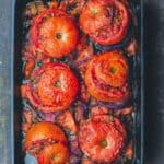 Baked Stuffed Tomatoes with Rice, Ground Beef, and Fresh Herbs