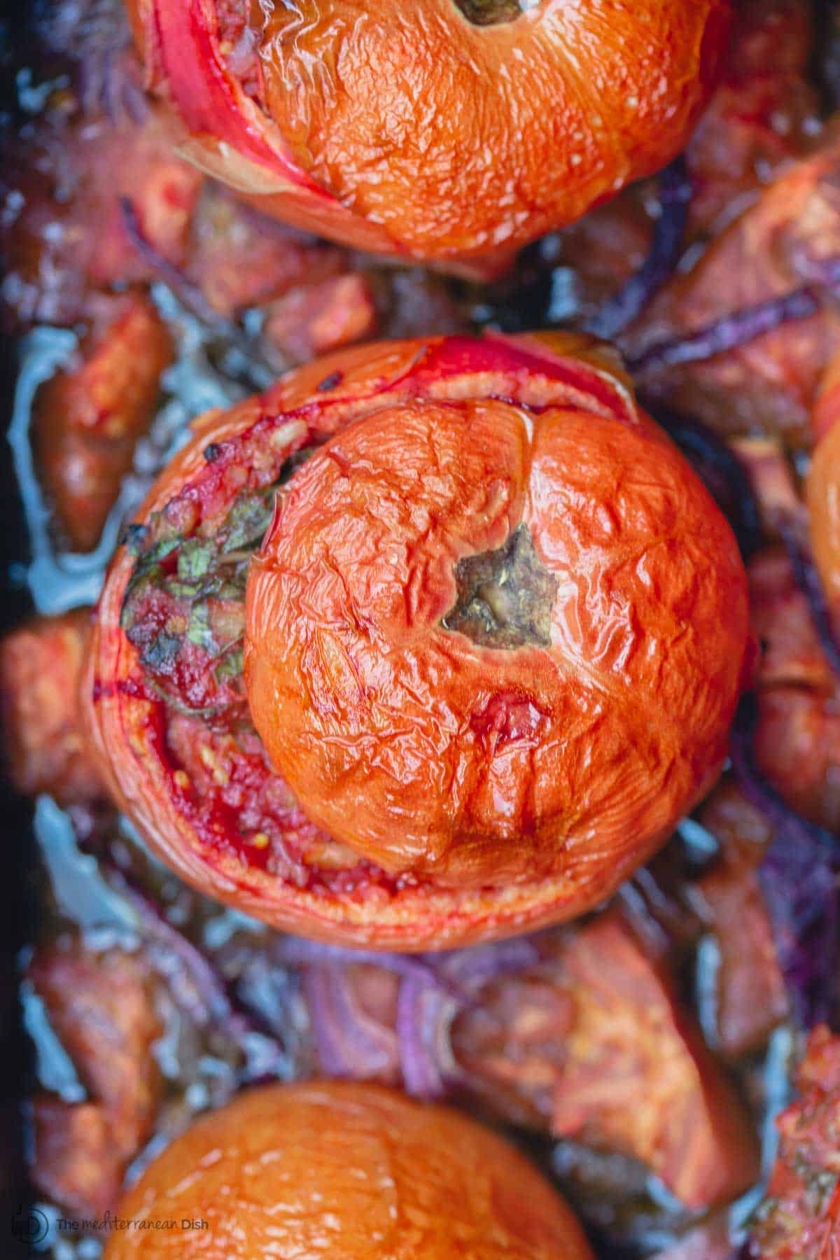 Gemista, Greek Stuffed Tomatoes. Baked
