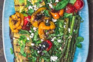 Grilled Vegetables. Eggplant, asparagus, squash, tomatoes, and bell peppers