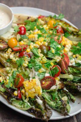 Grilled lettuce salad, served on platter