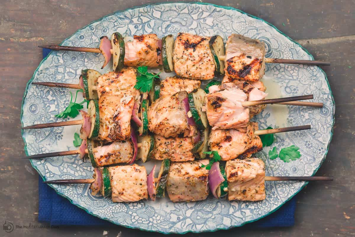 Mediterranean salmon kabobs served on a plate