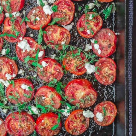 Oven roasted tomatoes with thyme and feta