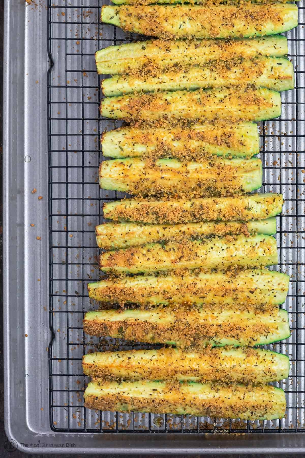 Baked Zucchini Sticks on Wire Rack