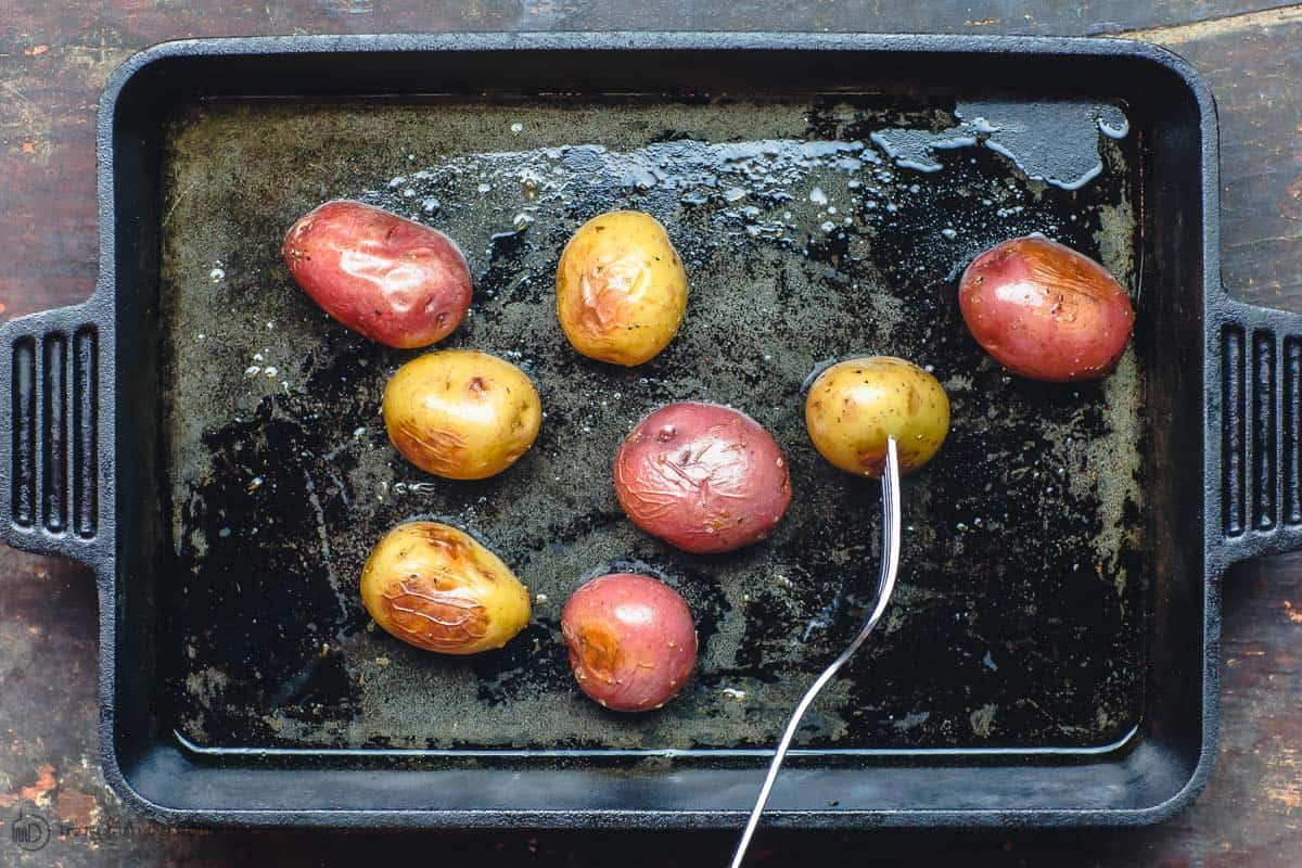 Baby potatoes roasted in cast iron pan