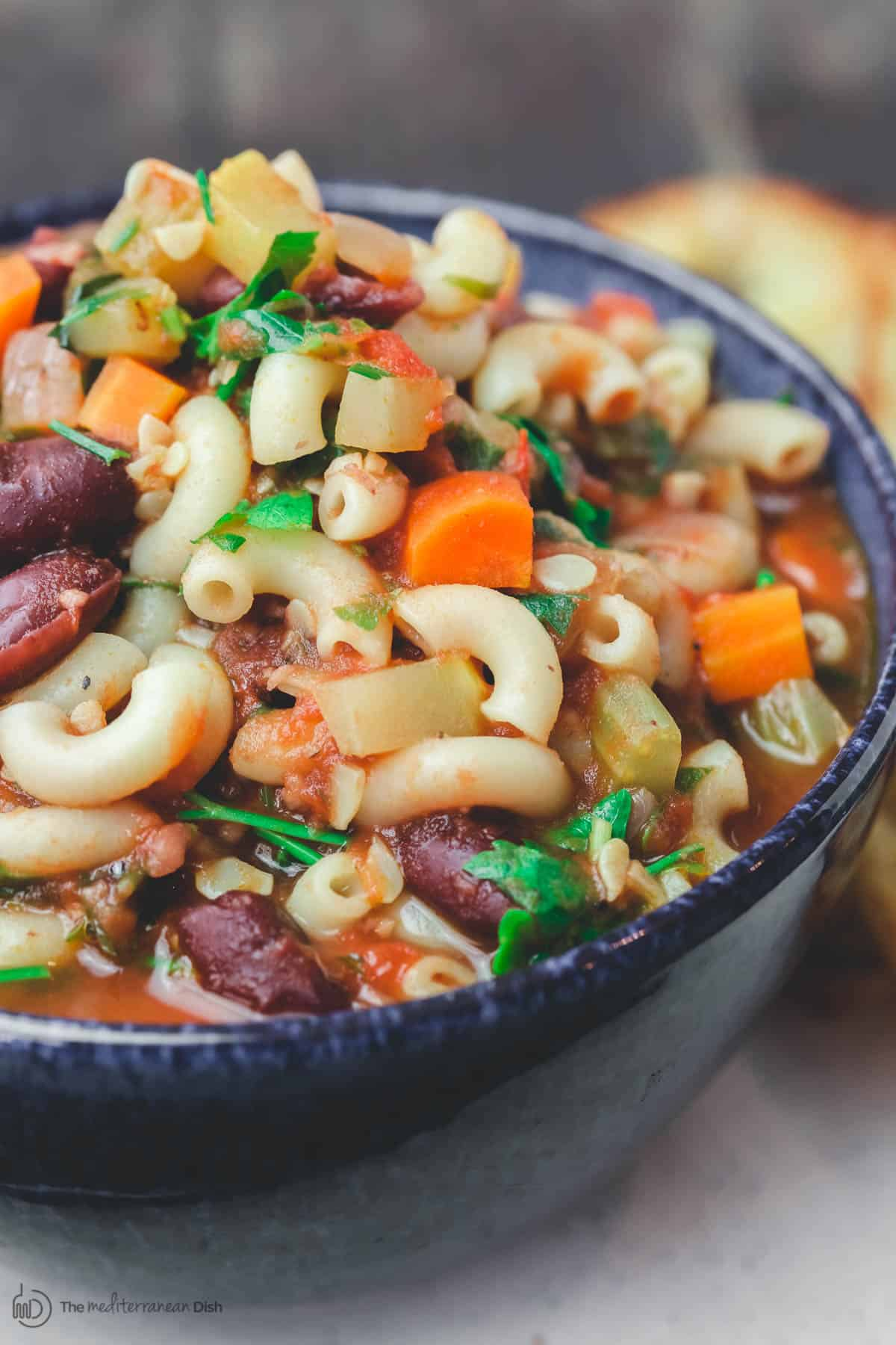 Minestrone soup recipe served in a bowl