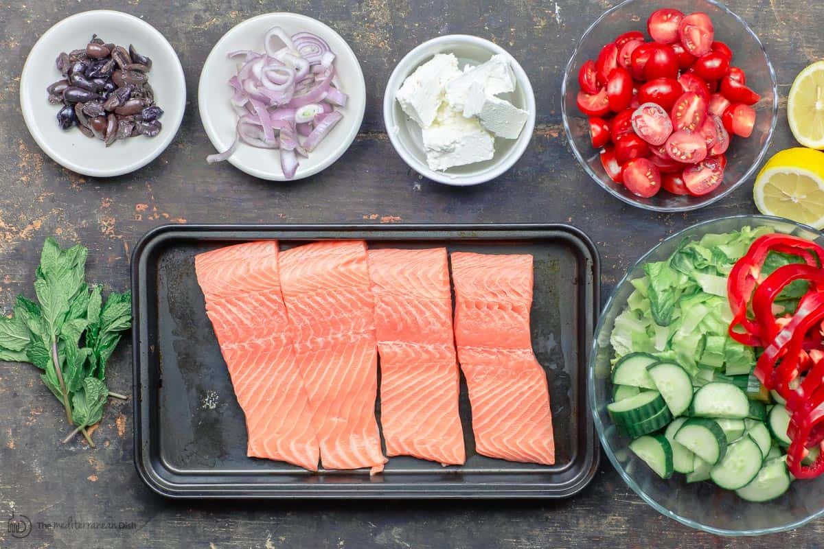 Ingredients for salmon salad