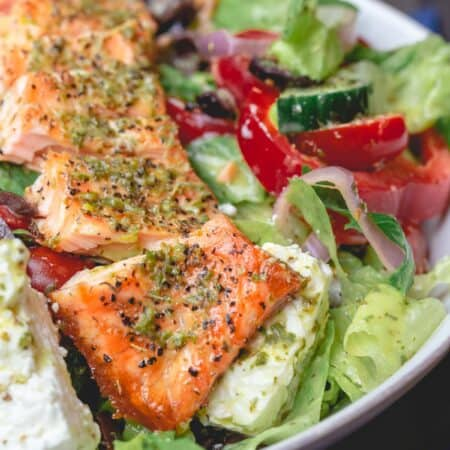 Salmon salad served in a salad bowl