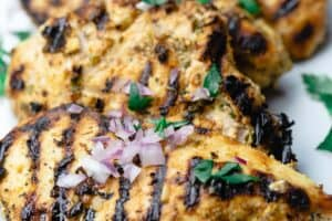 Grilled chicken breast on plate