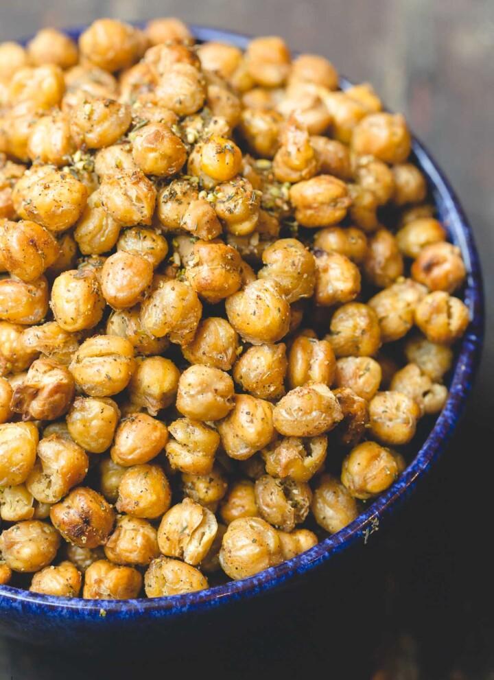 Crunchy roasted chickpeas seasoned with za'atar and harissa