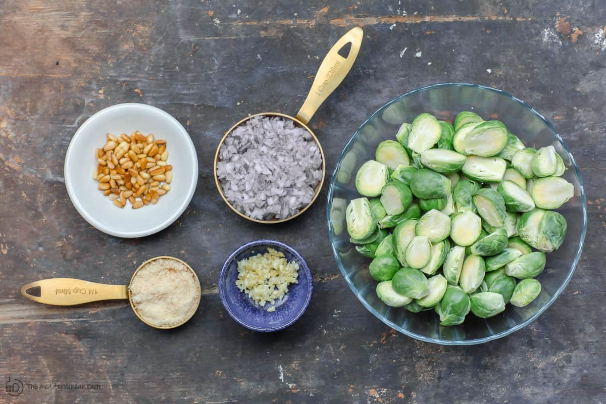 Ingredients to make fried brussels sprouts