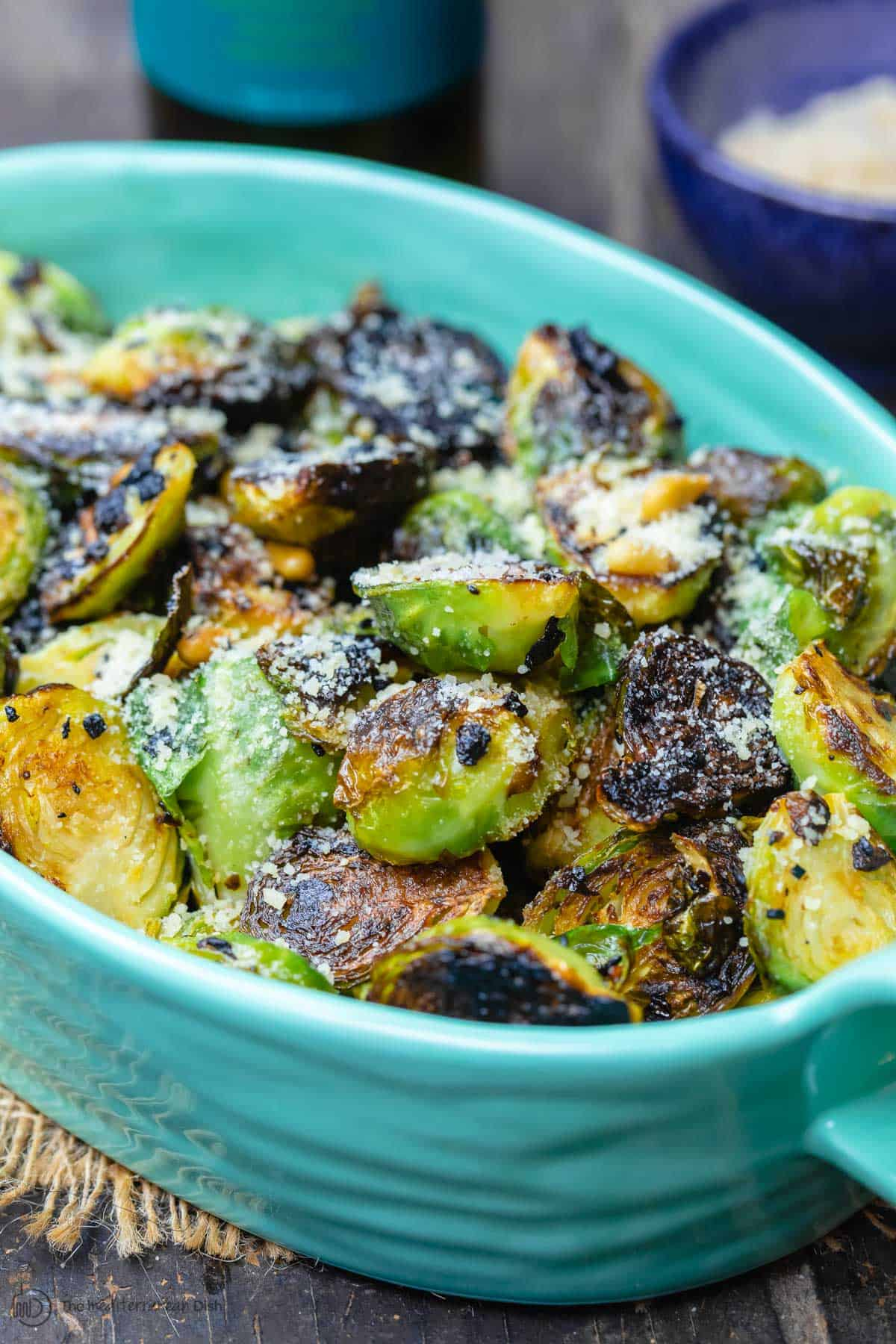 Fried brussels sprouts in serving dish