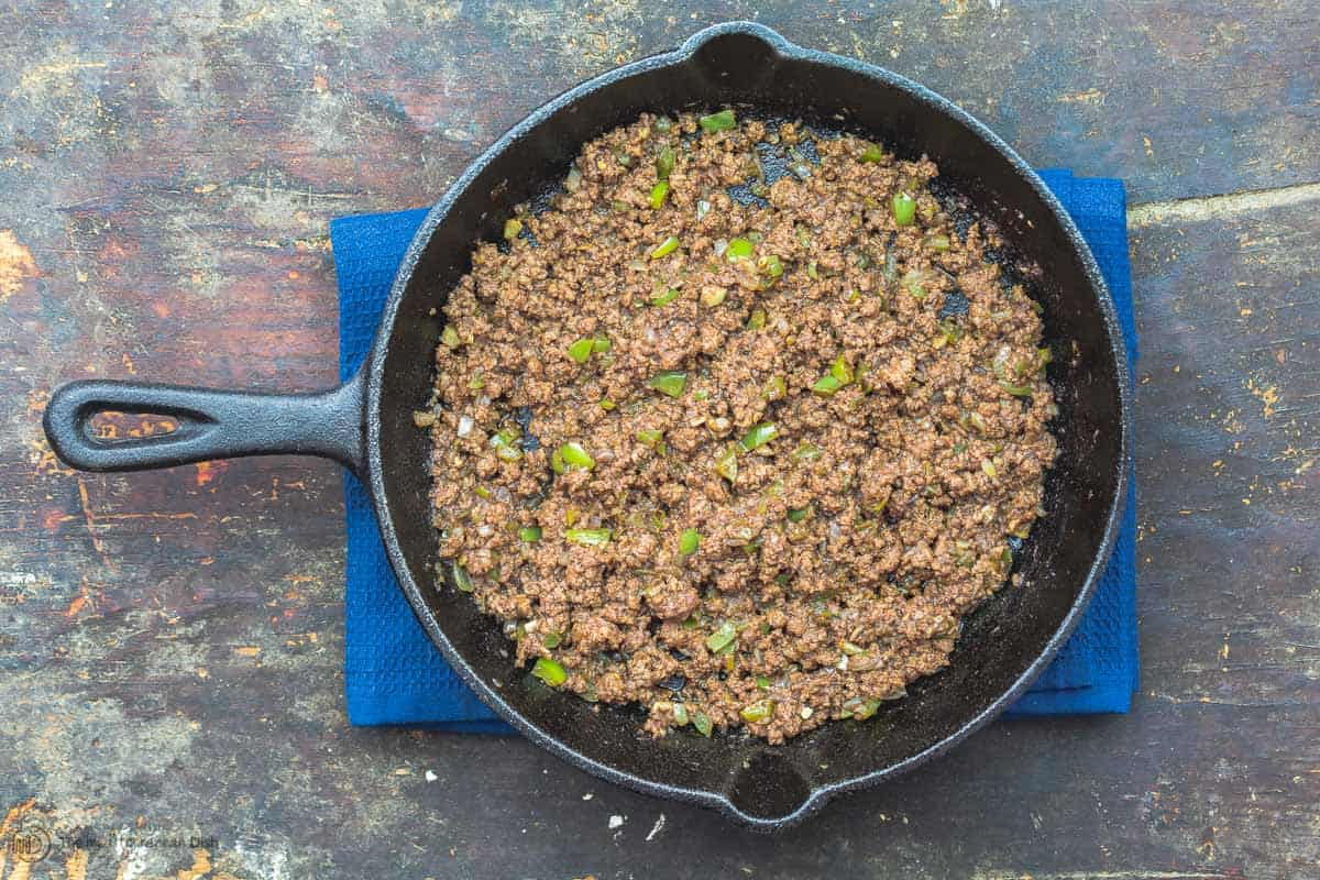 Spiced ground beef in a cast iron skillet