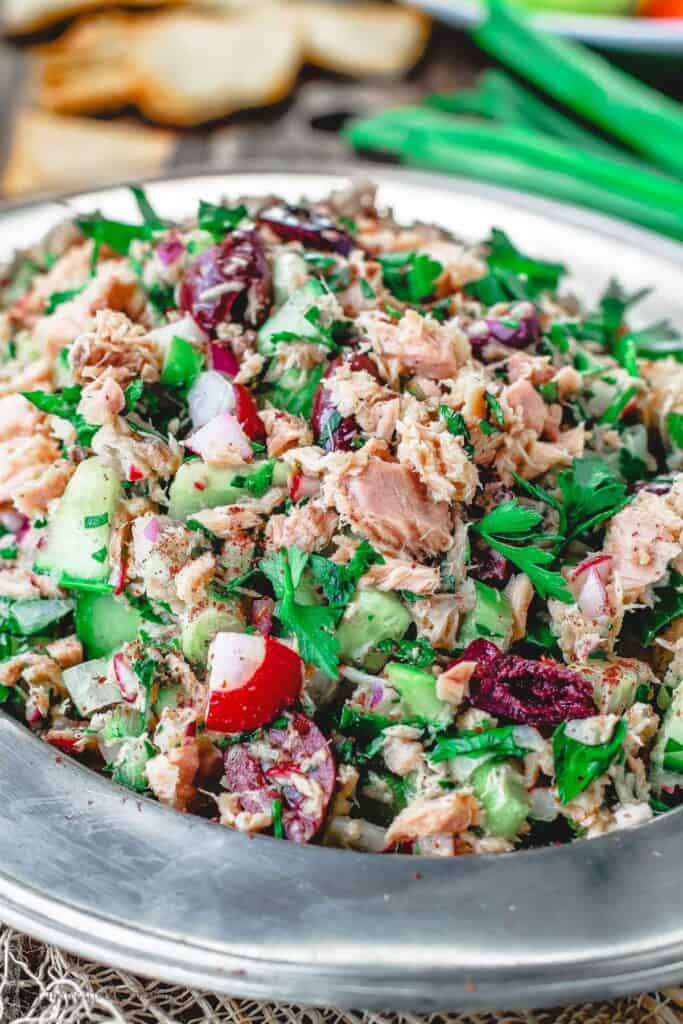 Mediterranean style tuna salad on a silver platter