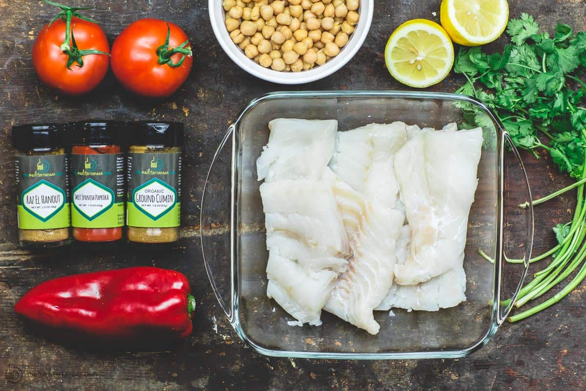 Ingredients for Moroccan fish recipe