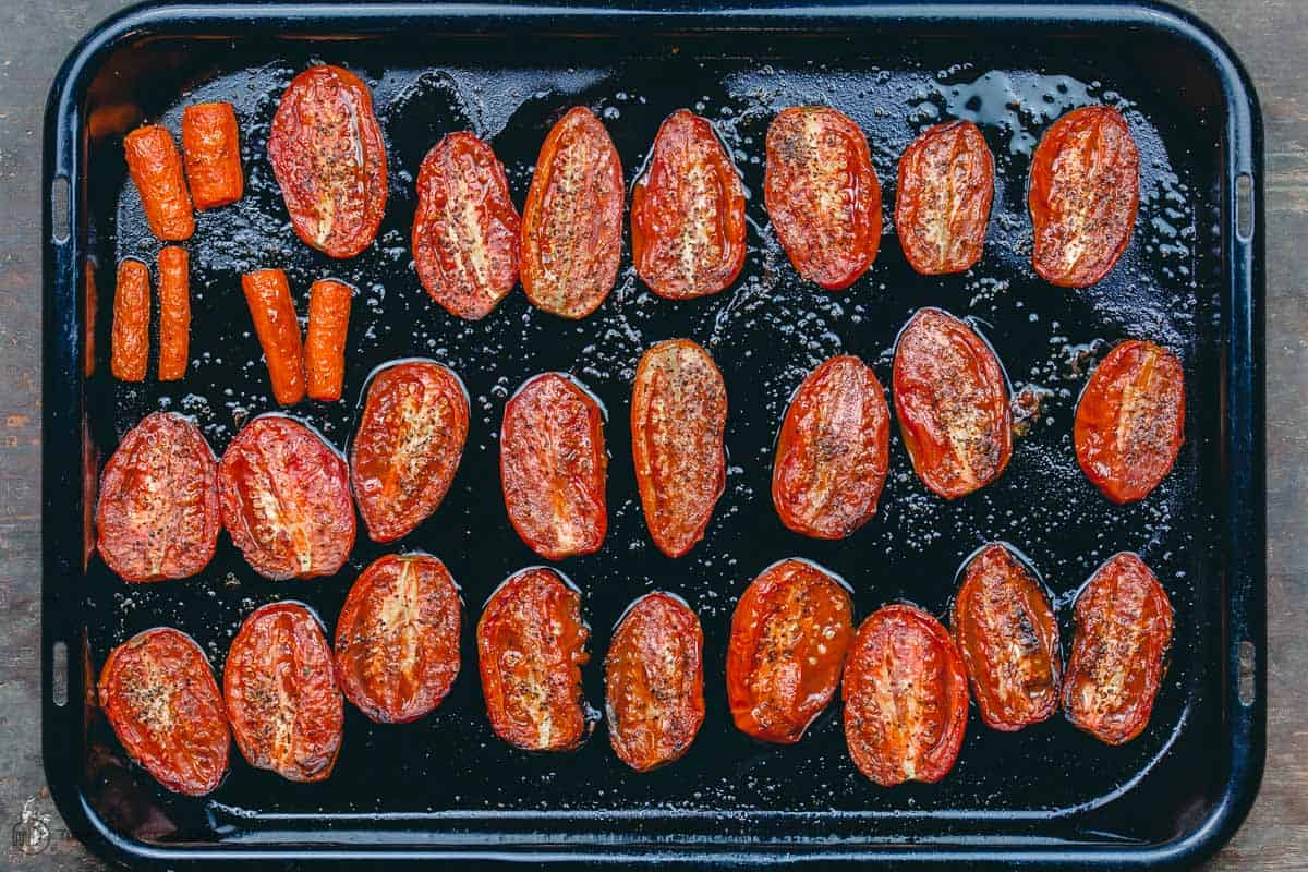 Roasted tomatoes and carrots for roasted tomato basil soup