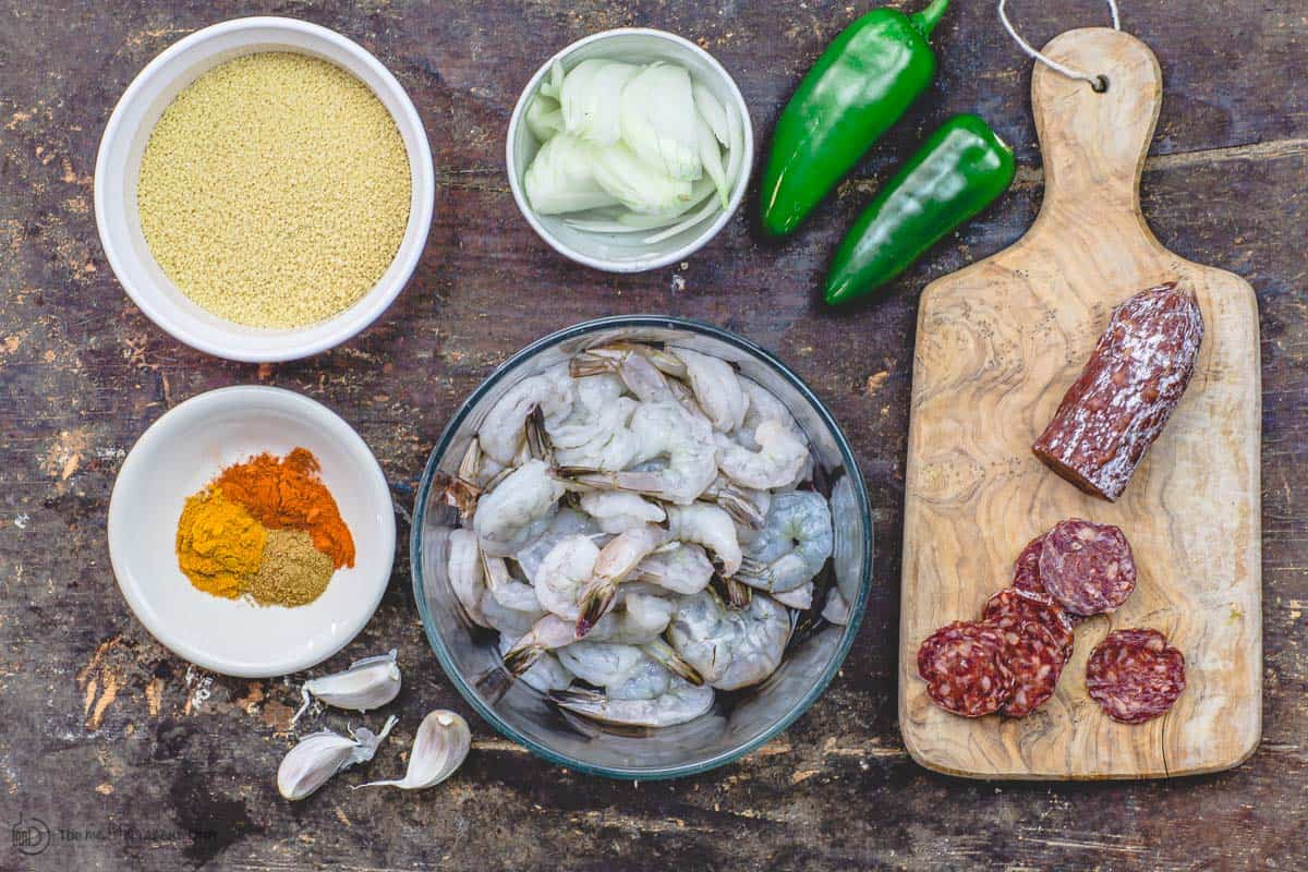 Ingredients for spicy couscous and shrimp recipe