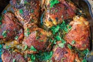 Cilantro lime chicken in cast iron skillet