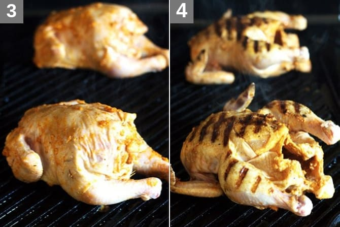 Cornish hens being browned on both sides
