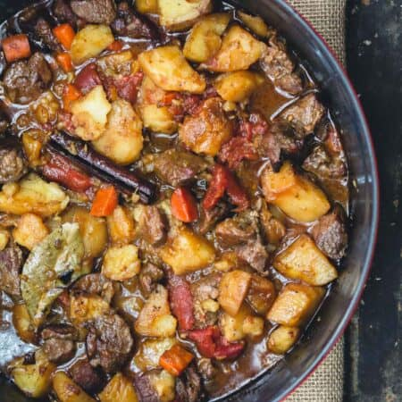 Moroccan Lamb Stew with Vegetables in large pot