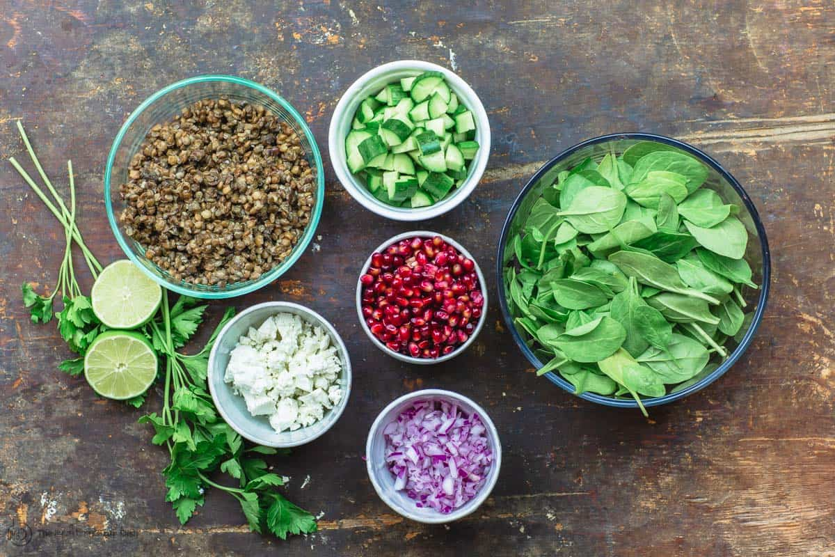 Ingredients for power lentil salad