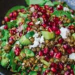 Lentil salad with pomegranates, feta cheese and vegetables