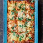 Baked Ziti with Vegetables, Garnished with basil