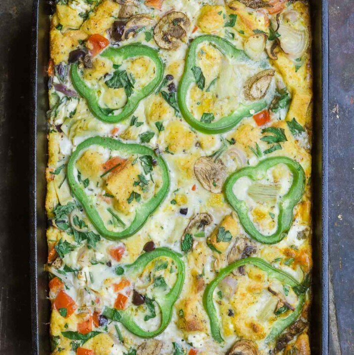 Egg casserole with vegetables in baking pan