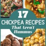 Collage of photos with chickpea recipes