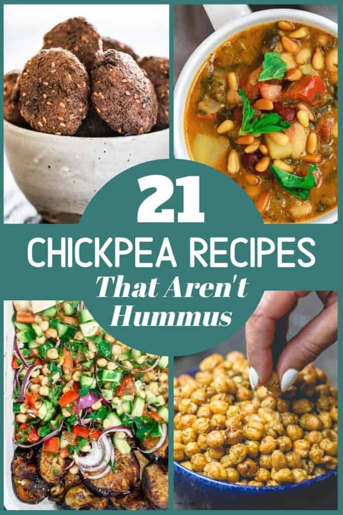 collage of four photos for 21 chickpea recipes that are not hummus