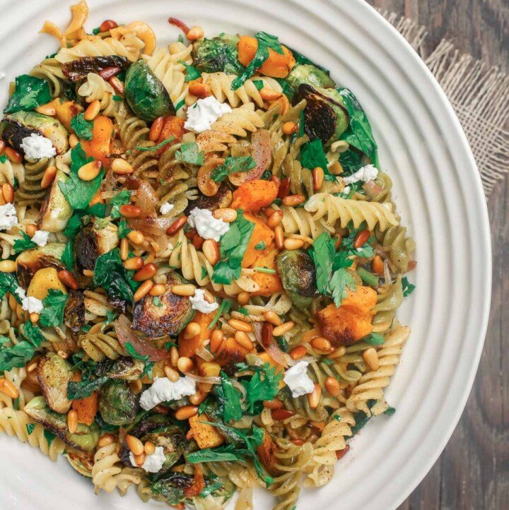 Rotini pasta with butternut squash and brussels sprouts