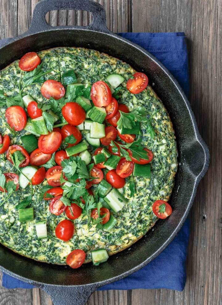 Spinach Frittata with Mediterranean salad