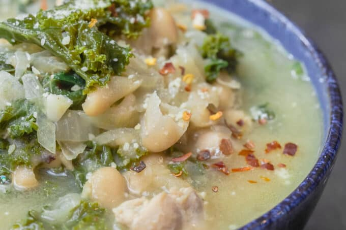 White Bean and Kale Soup served in bowl