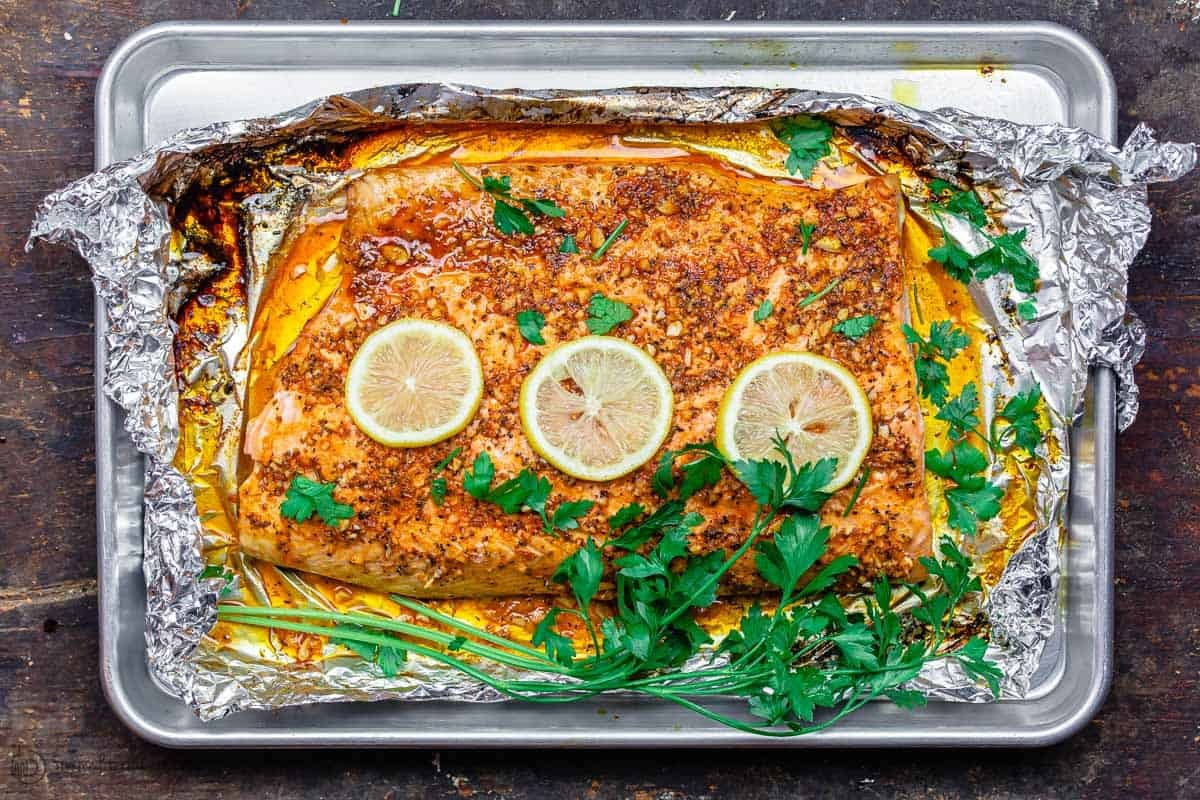 Baked salmon with garnish of parsley
