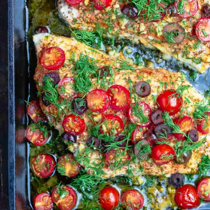 Mediterranean style baked grouper recipe with tomatoes and olives