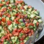 Shirazi salad in a serving bowl