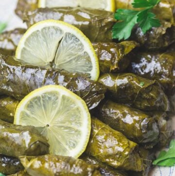 Stuffed Grape leaves on Serving Platter with Sliced lemons and a side of Tzatiki sauce