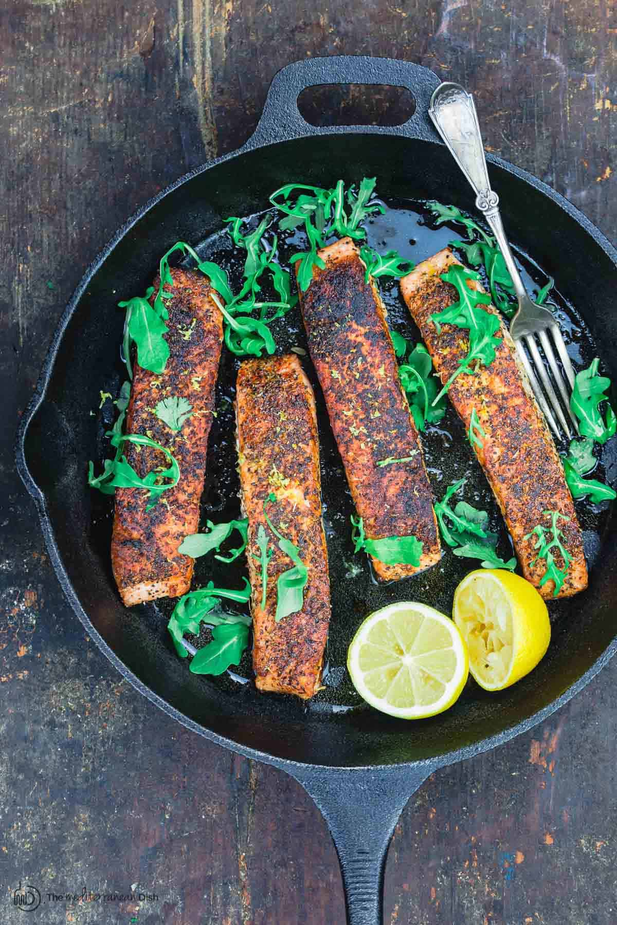 Crispy Pan Seared Salmon in Skillet
