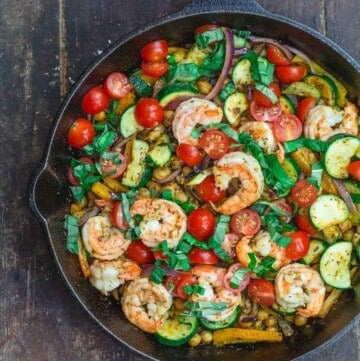 Mediterranean sauteed shrimp and zucchini with chickpeas, tomatoes and basil