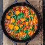 vegetarian sweet potato stew in large Dutch oven