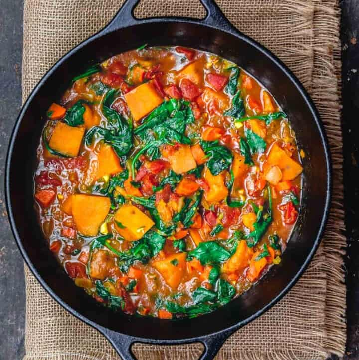 vegetarian sweet potato stew in large Dutch oven
