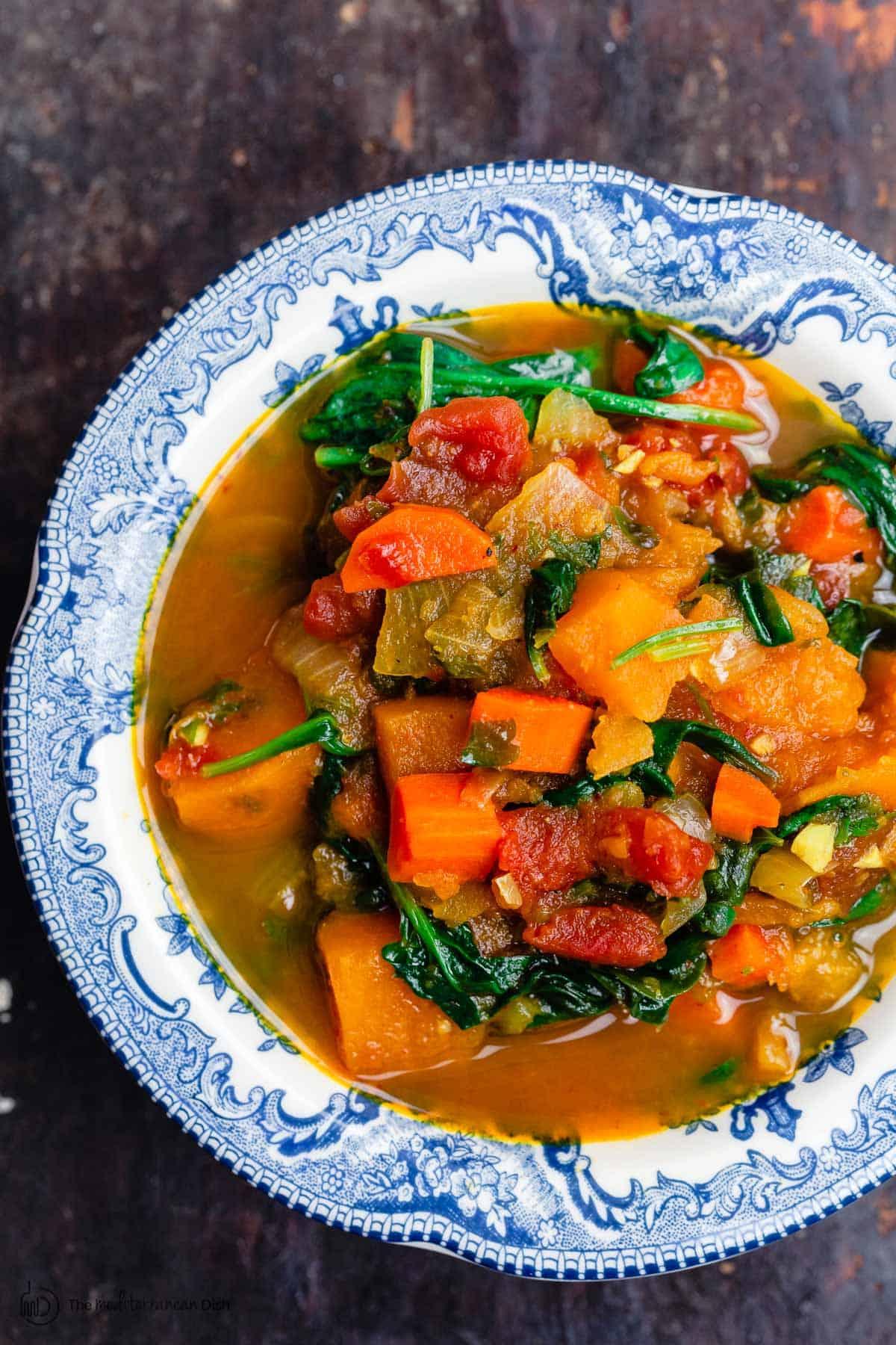 Bowl of vegetarian sweet potato stew