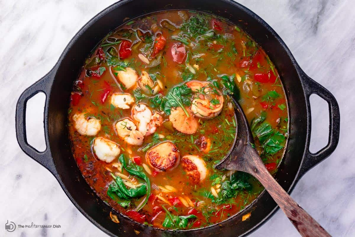 Shrimp is added to the soup