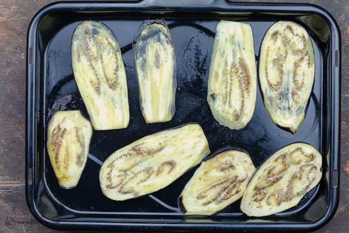 Roasted eggplant for vegetable moussaka