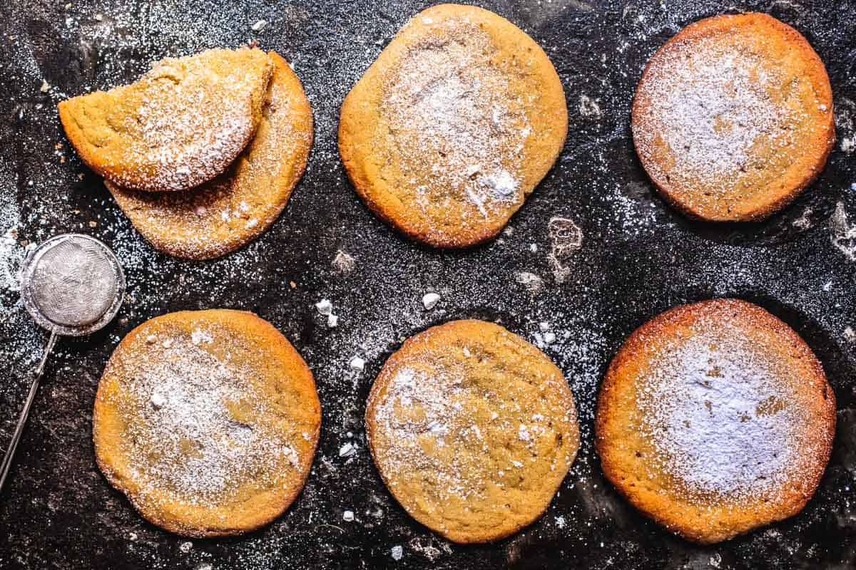 tahini cookies dusted with powdered sugar