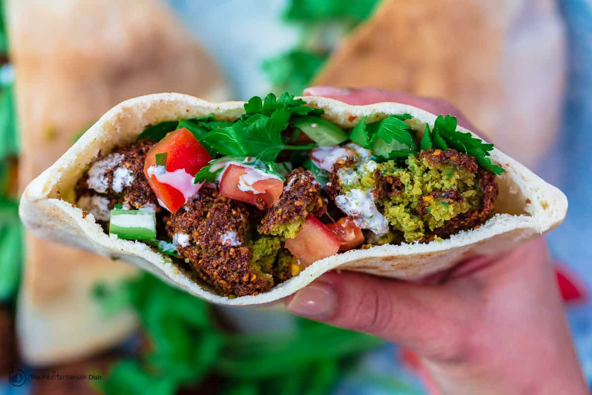 Falafel assembled in one pita pocket