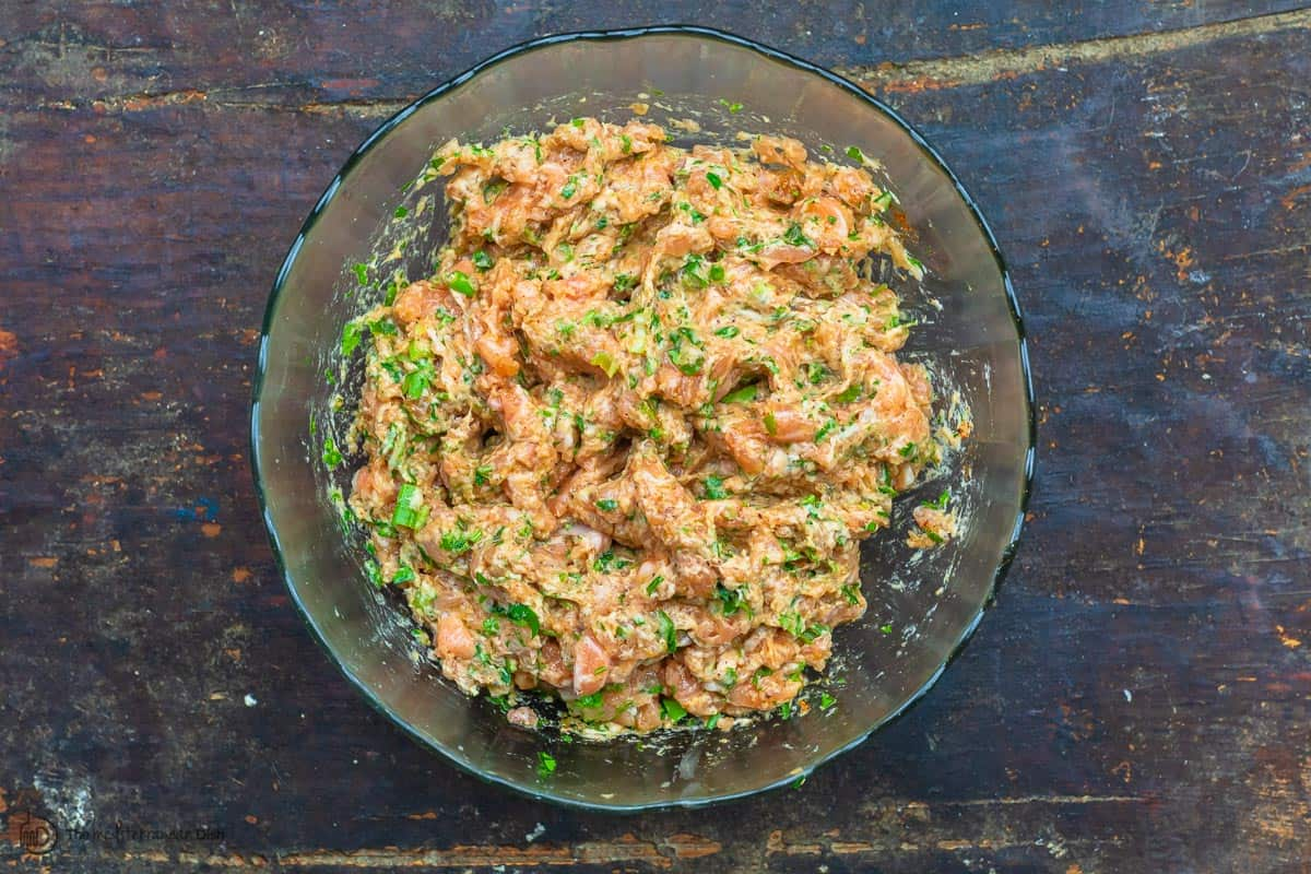 Salmon burger mixture before cooking. Ready to chill