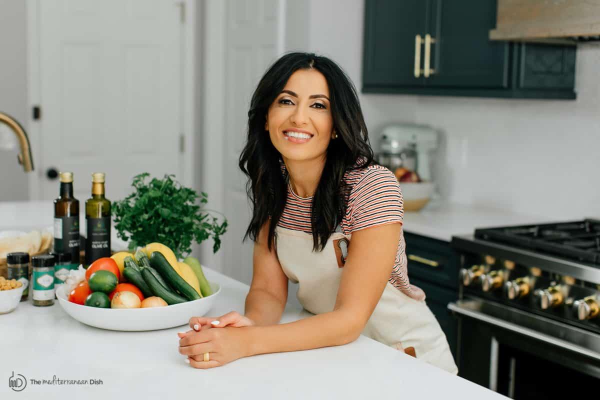 Suzy Karadsheh of The Mediterranean Dish. In the kitchen