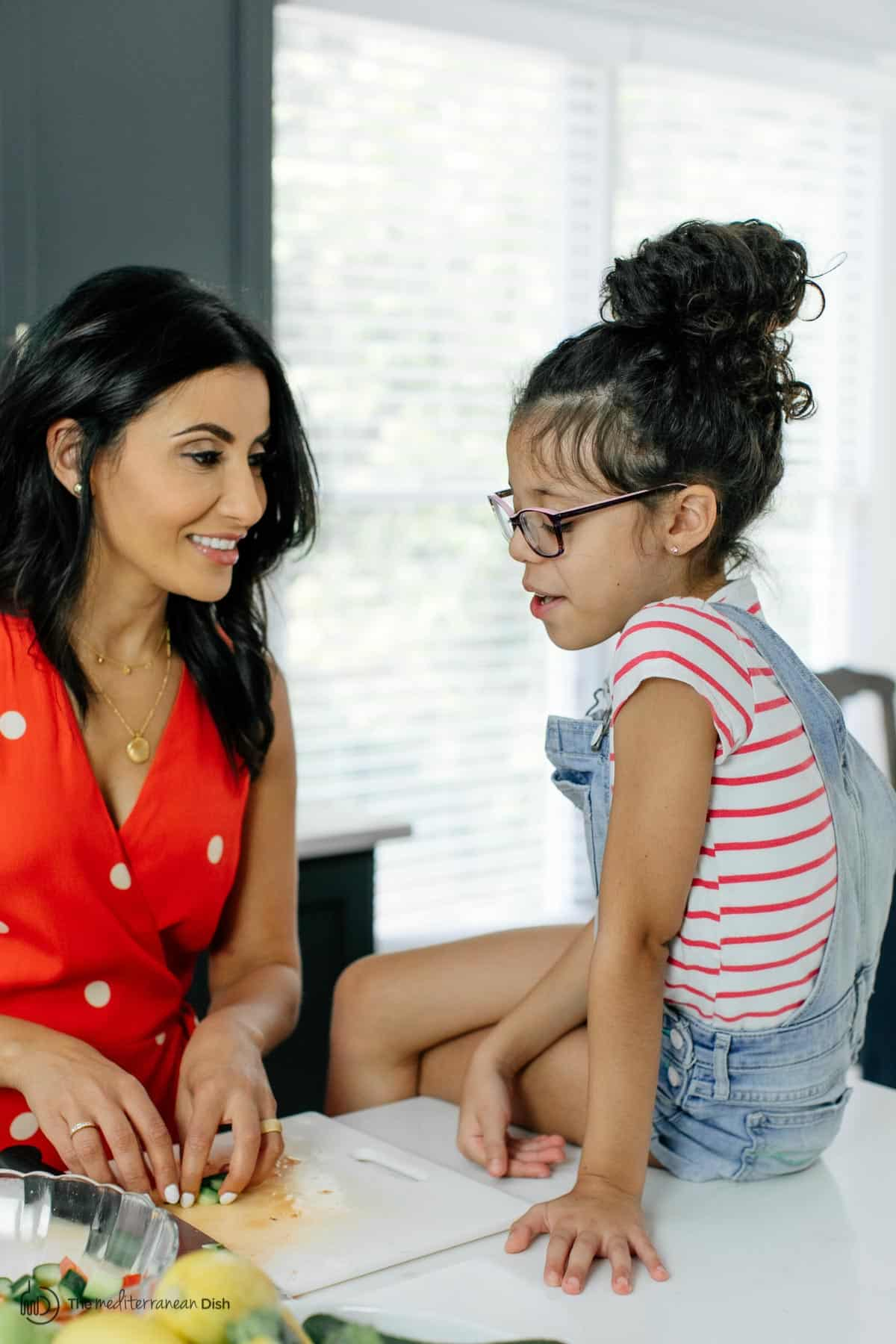 Suzy Karadsheh of The Mediterranean Dish with her daughter in the kitchen