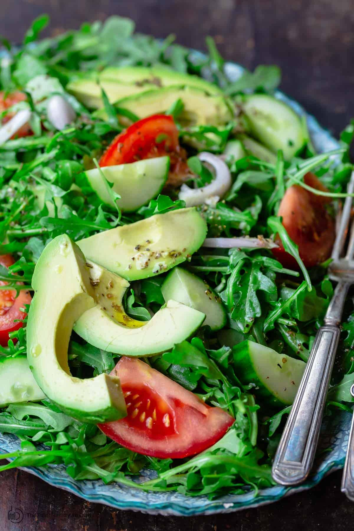 Simple Lemony Arugula Salad With Avocado The Mediterranean Dish